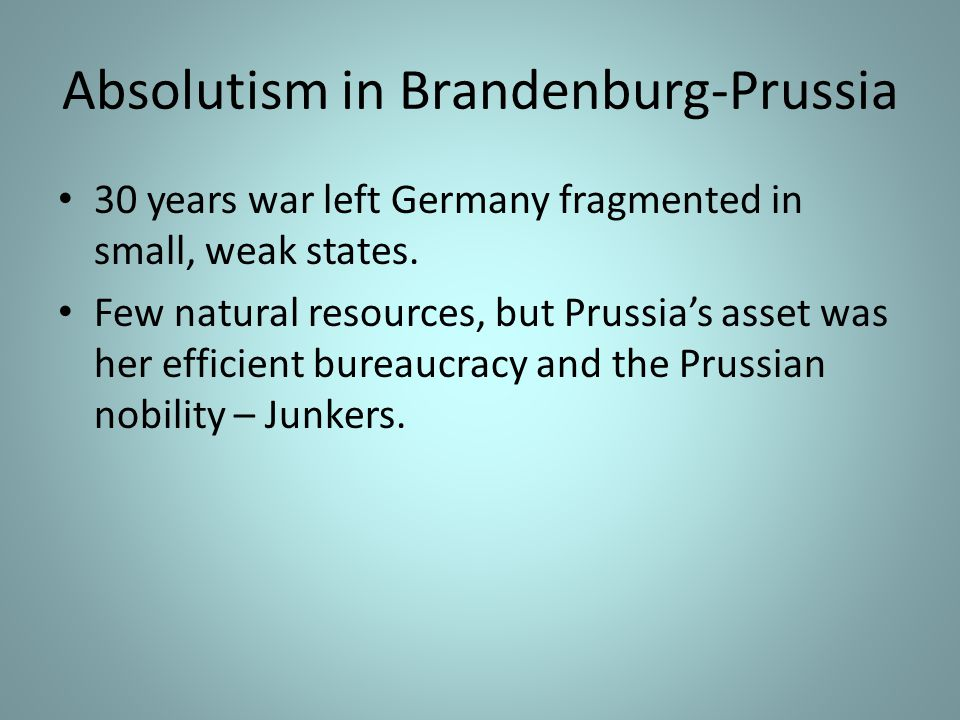 Absolutism in Brandenburg-Prussia
