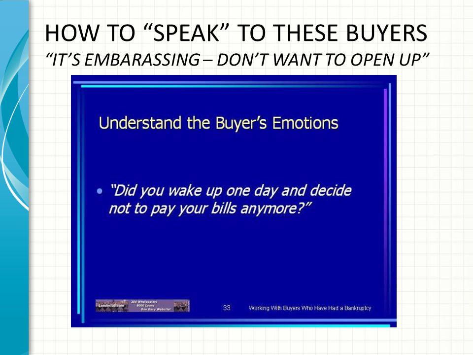 HOW TO SPEAK TO THESE BUYERS IT'S EMBARASSING – DON'T WANT TO OPEN UP
