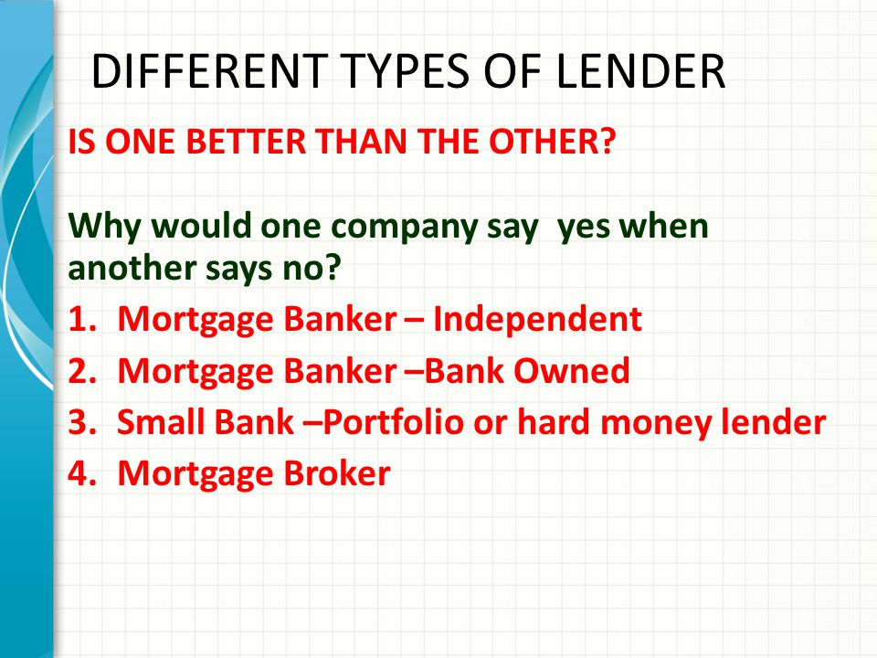 DIFFERENT TYPES OF LENDER