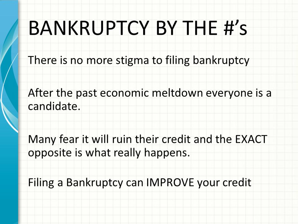 BANKRUPTCY BY THE #'s