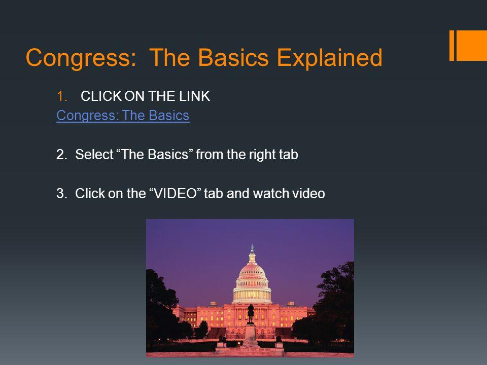 Congress: The Basics Explained