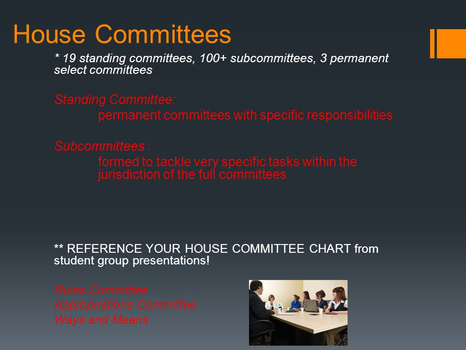 House Committees Standing Committee: