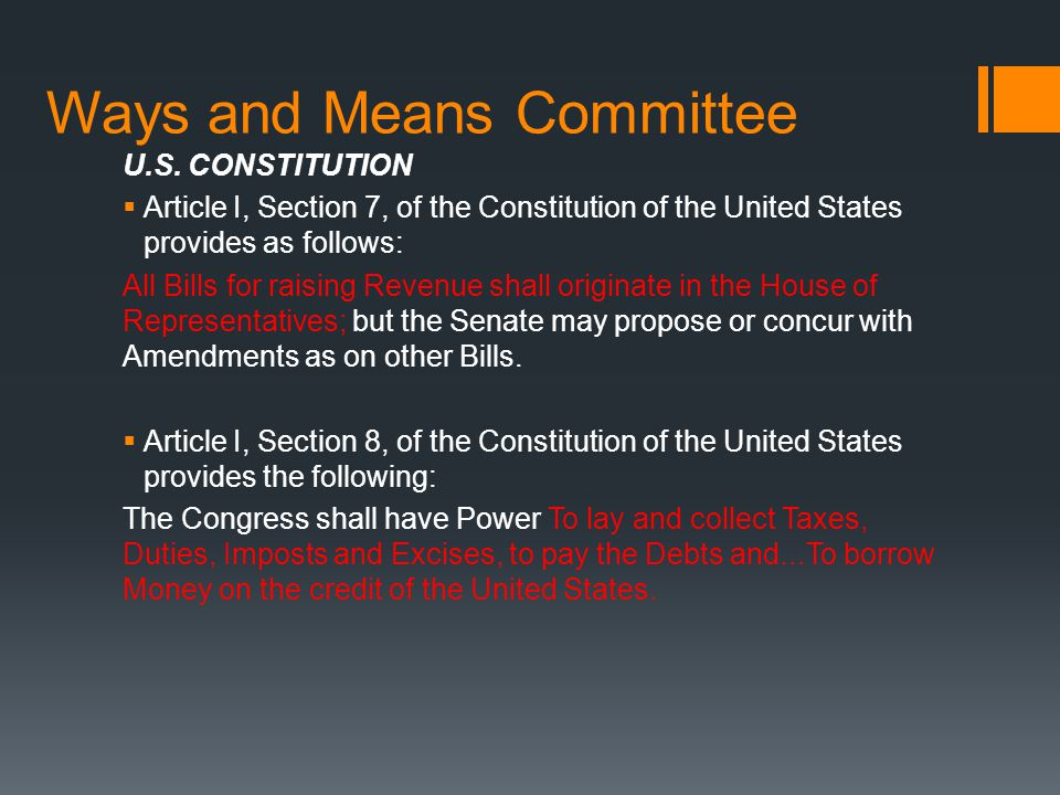 Ways and Means Committee