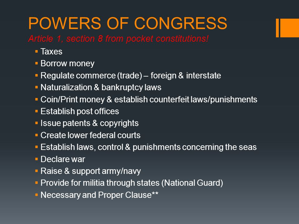 POWERS OF CONGRESS Article 1, section 8 from pocket constitutions!