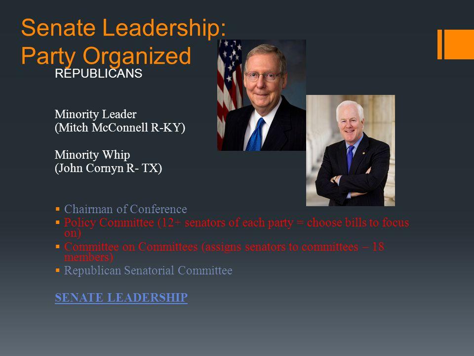 Senate Leadership: Party Organized