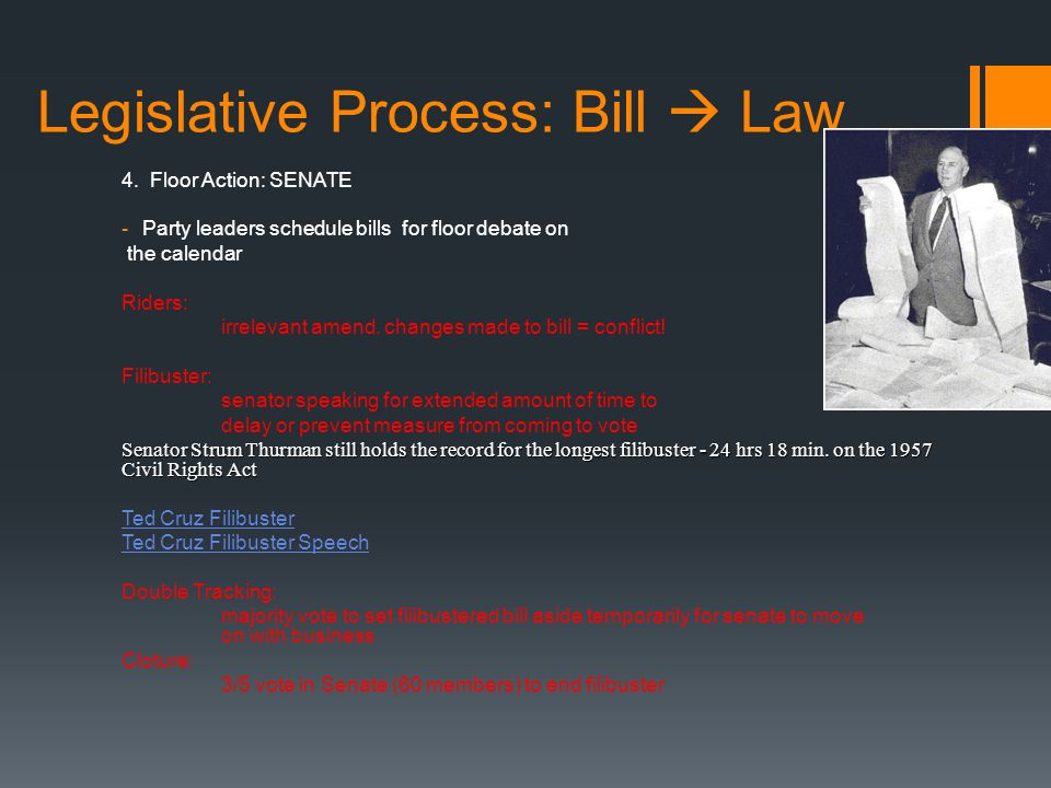Legislative Process: Bill  Law