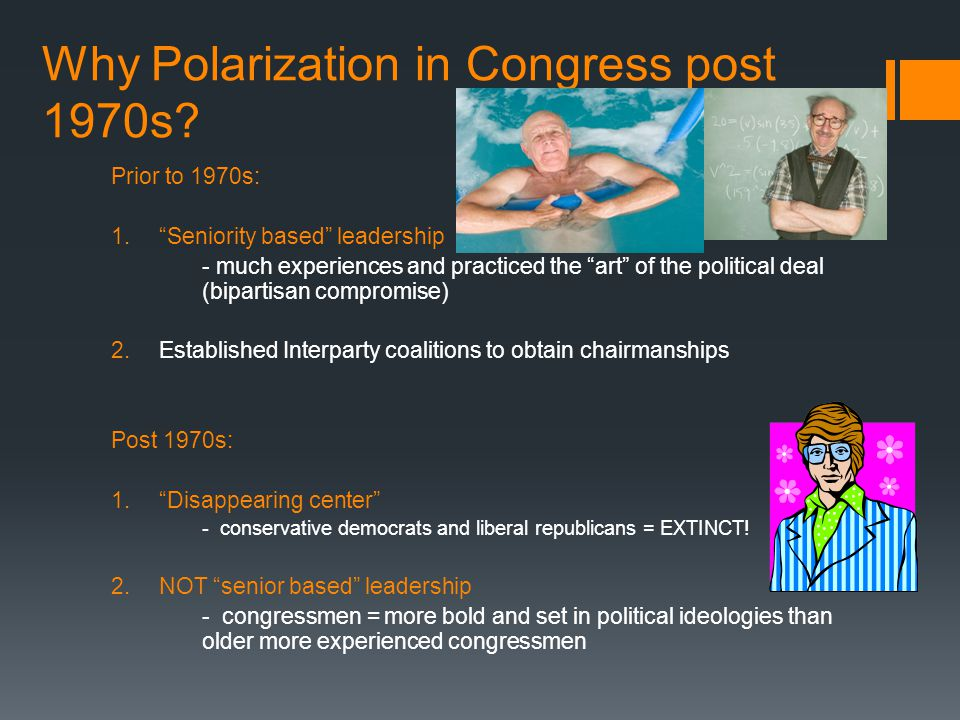 Why Polarization in Congress post 1970s