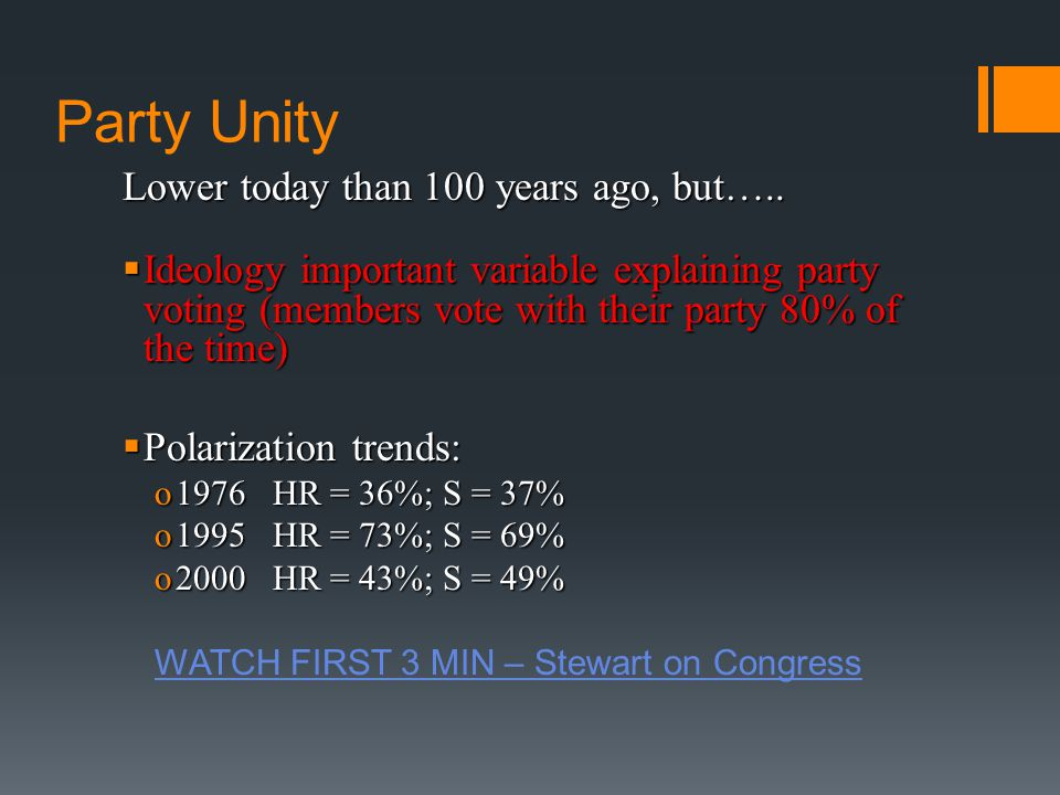 Party Unity Lower today than 100 years ago, but…..