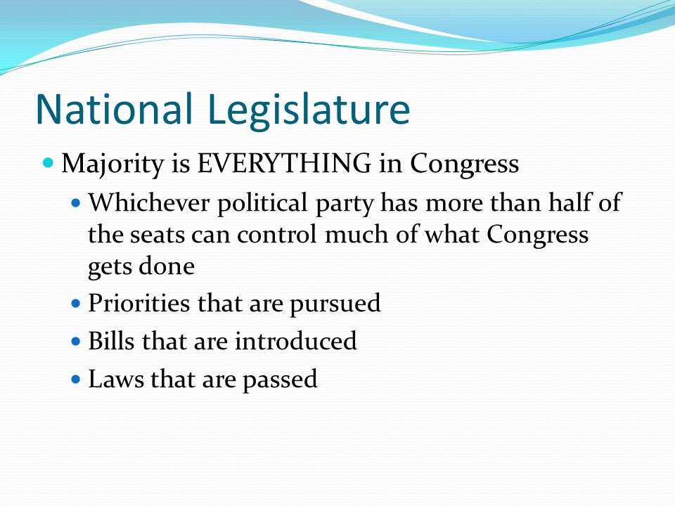 National Legislature Majority is EVERYTHING in Congress