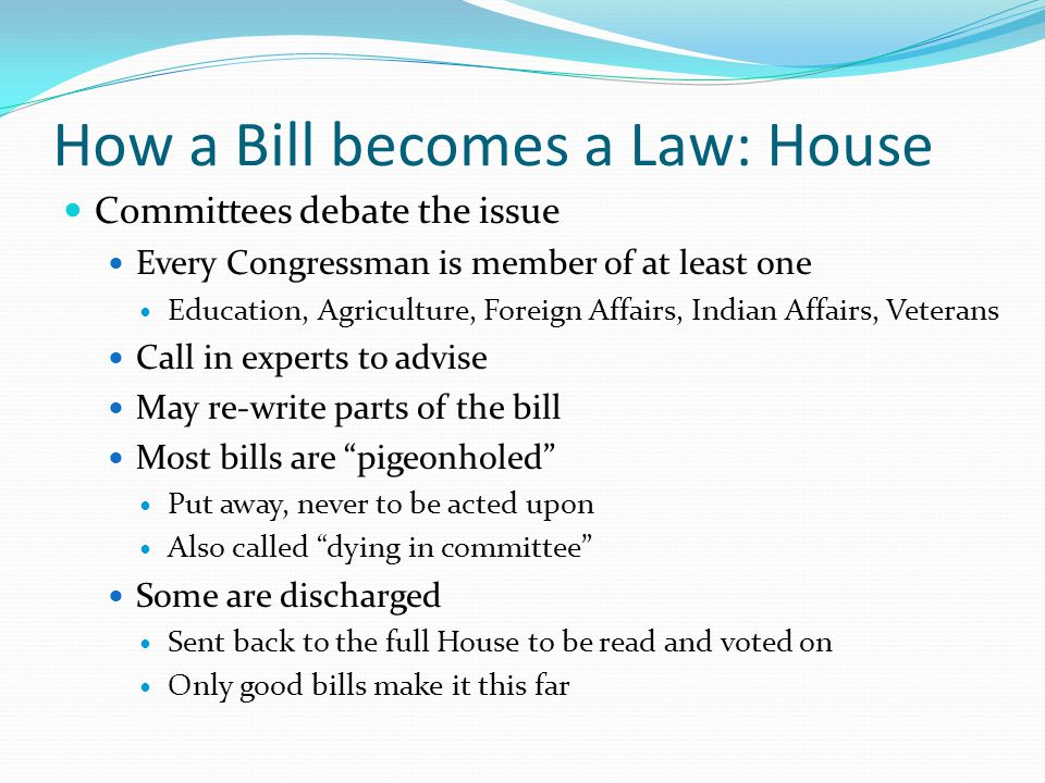 How a Bill becomes a Law: House