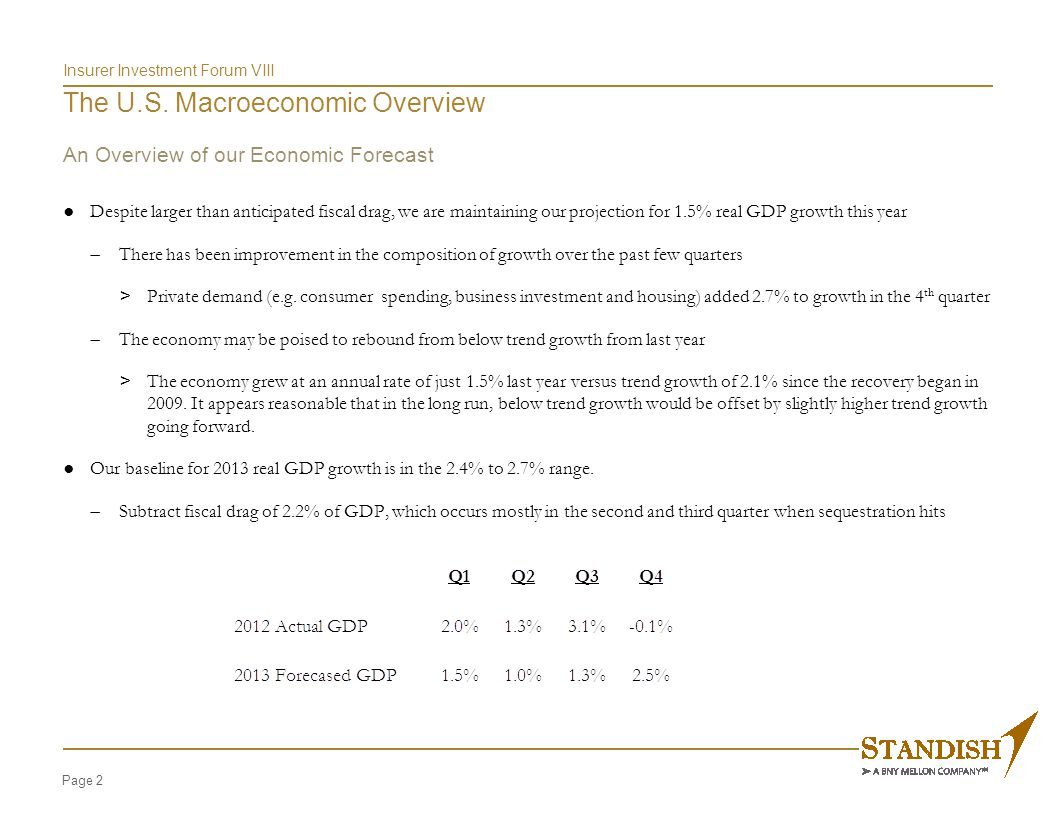 Insurer Investment Forum VIII The U.S. Macroeconomic Overview