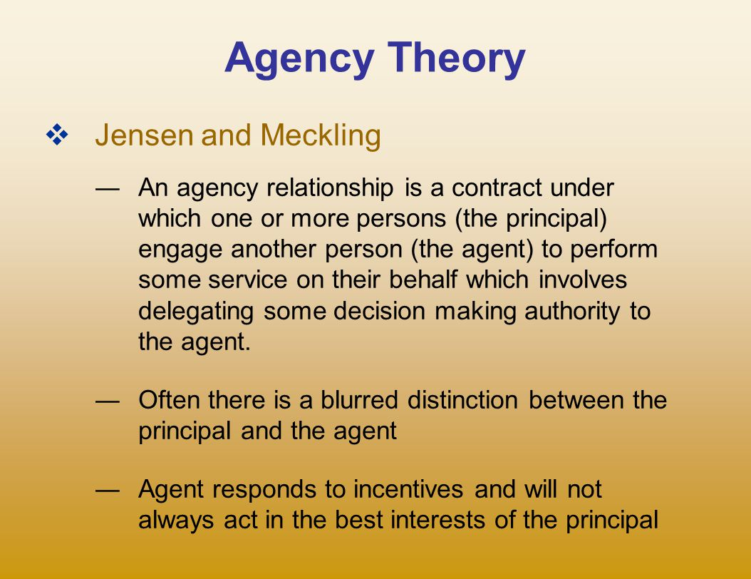Agency Theory Jensen and Meckling