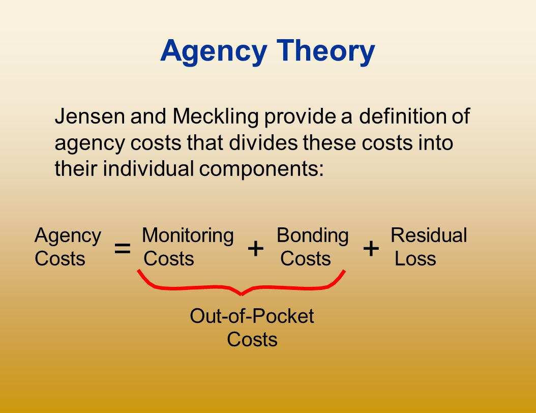 Agency Theory Jensen and Meckling provide a definition of agency costs that divides these costs into their individual components: