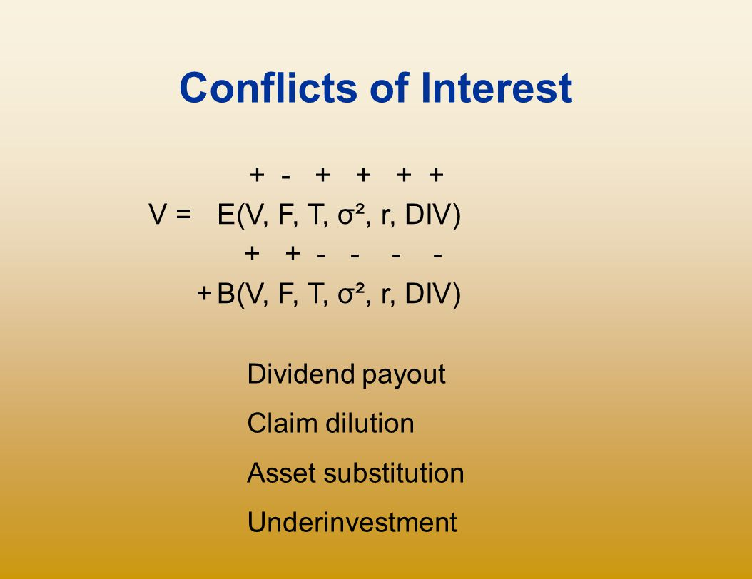 Conflicts of Interest + - + + + + V = E(V, F, T, σ², r, DIV)