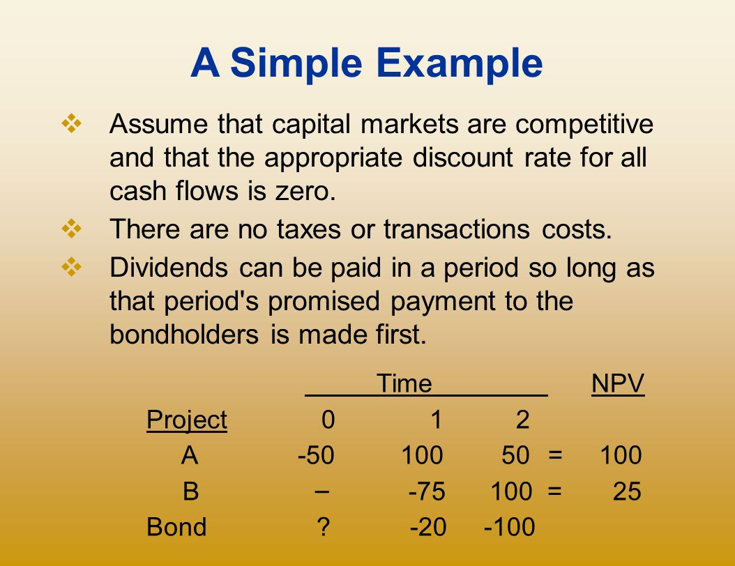 A Simple Example Assume that capital markets are competitive and that the appropriate discount rate for all cash flows is zero.