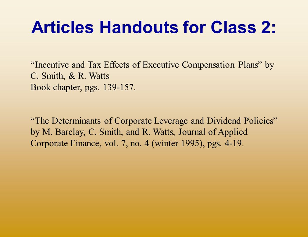 Articles Handouts for Class 2: