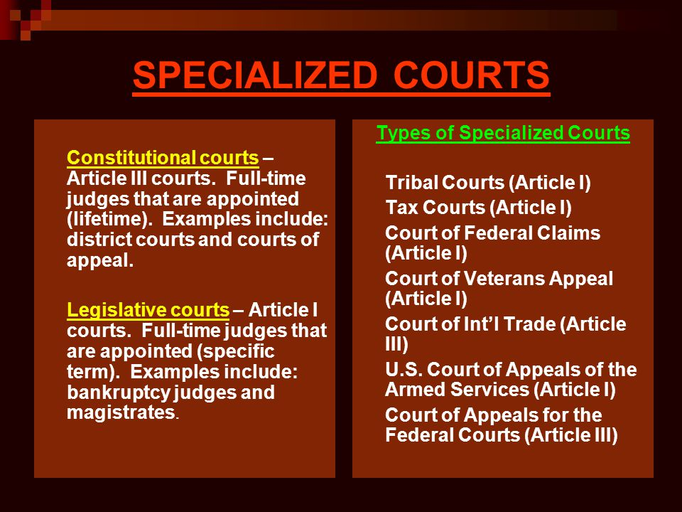Types of Specialized Courts