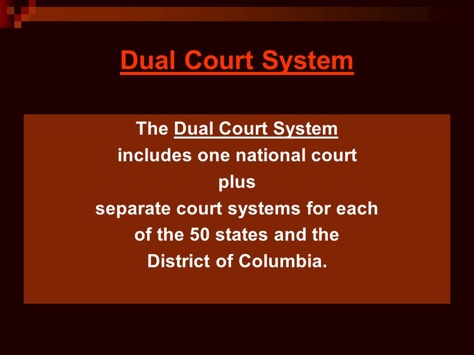 includes one national court separate court systems for each