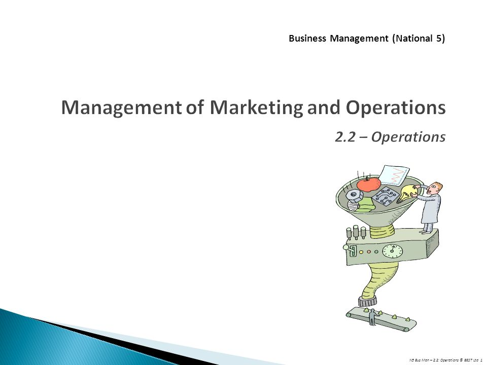 Management of Marketing and Operations 2.2 – Operations