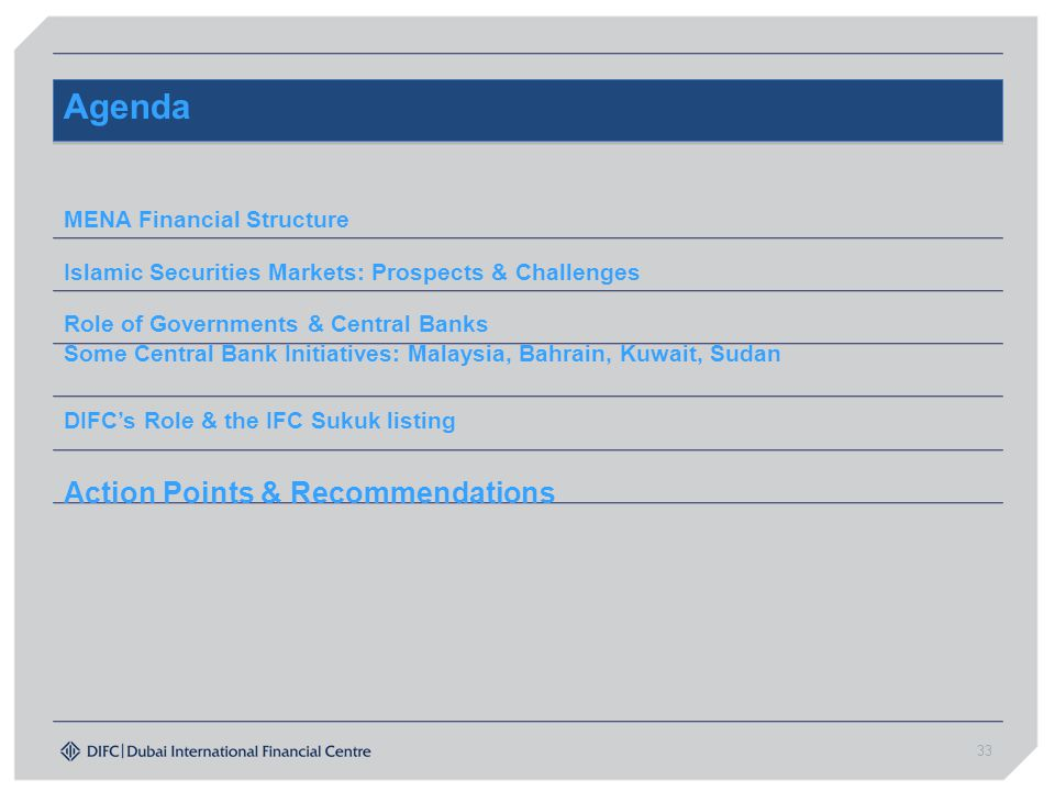 Agenda Action Points & Recommendations MENA Financial Structure