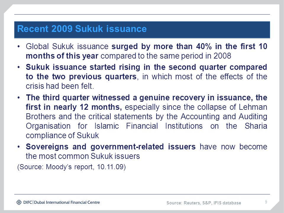 Recent 2009 Sukuk issuance Global Sukuk issuance surged by more than 40% in the first 10 months of this year compared to the same period in 2008.