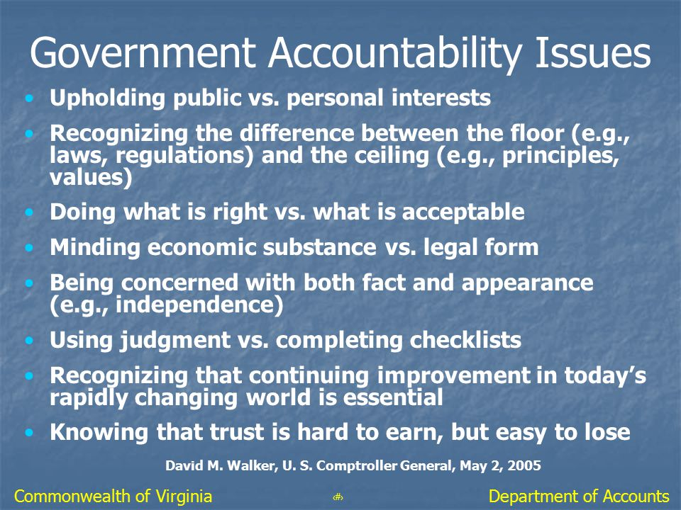 Government Accountability Issues