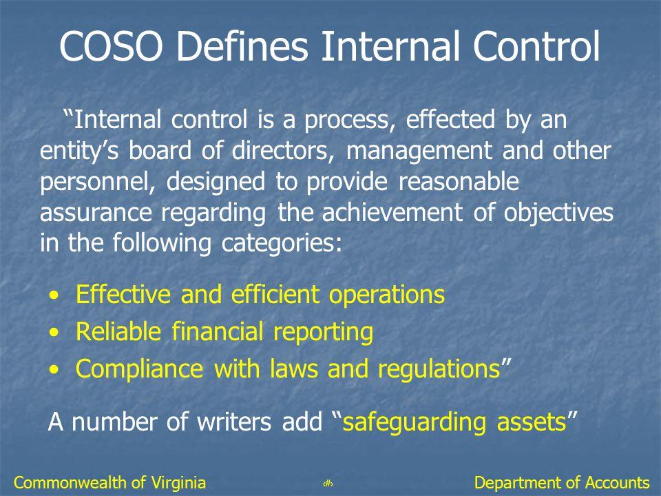 COSO Defines Internal Control