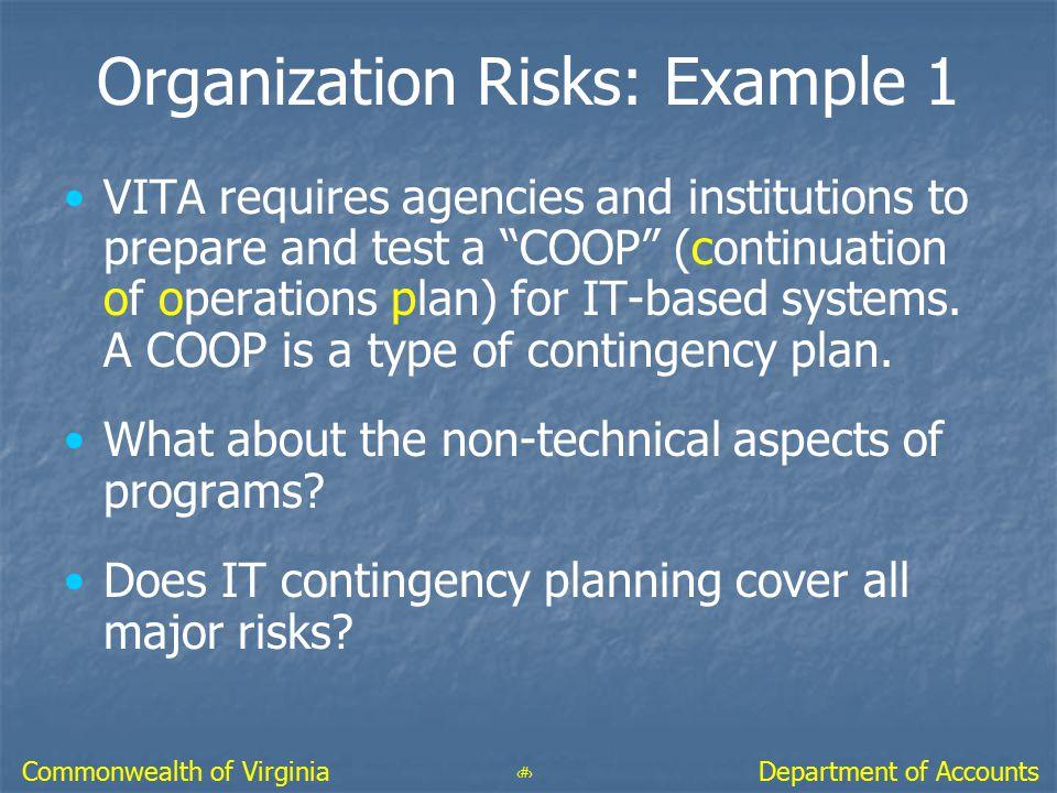 Organization Risks: Example 1