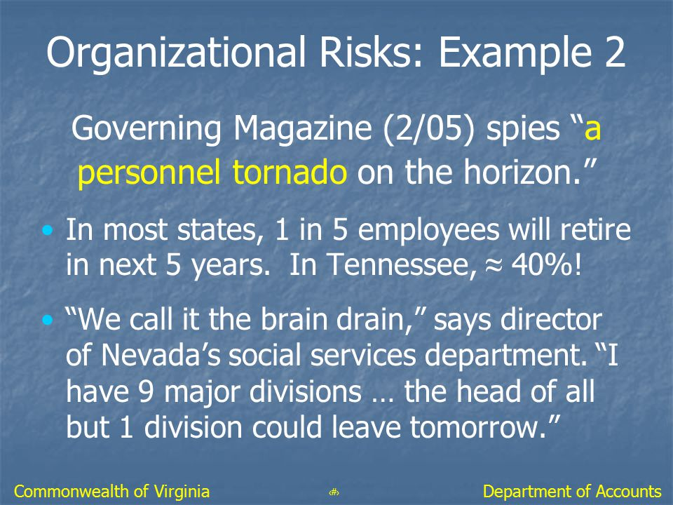 Organizational Risks: Example 2