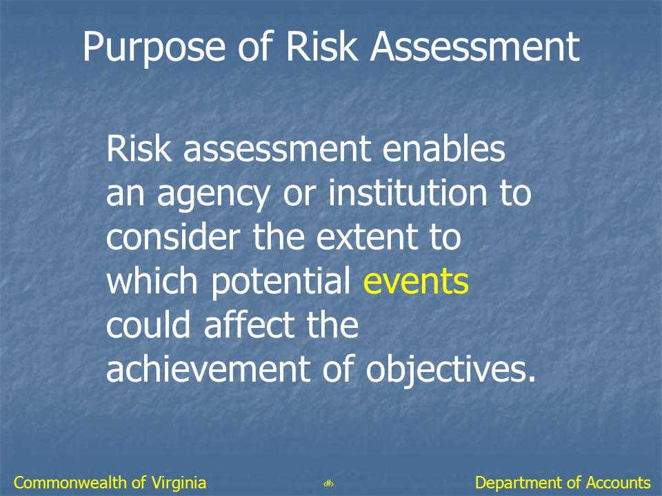 Purpose of Risk Assessment