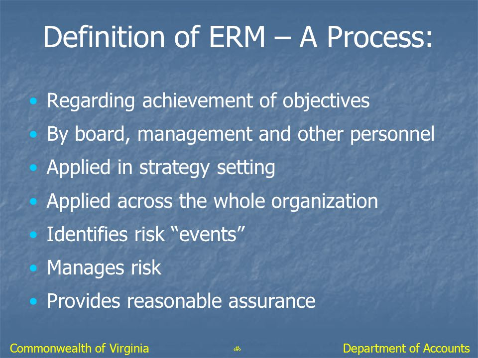 Definition of ERM – A Process: