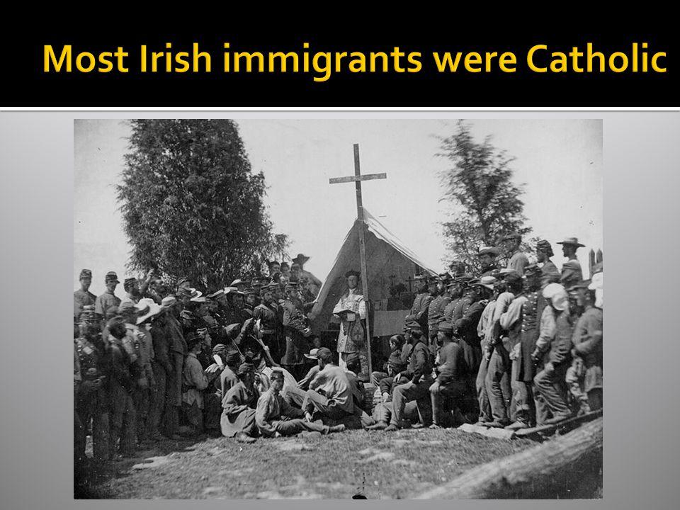 Most Irish immigrants were Catholic