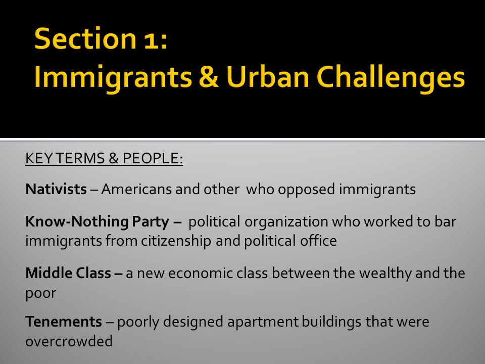 Section 1: Immigrants & Urban Challenges