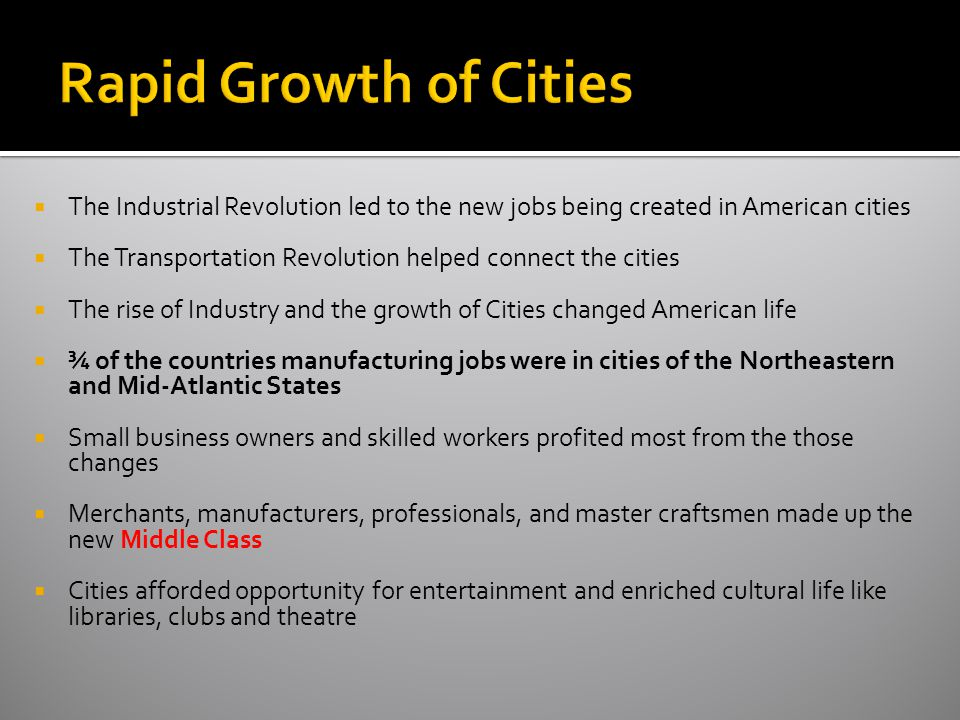 Rapid Growth of Cities The Industrial Revolution led to the new jobs being created in American cities.