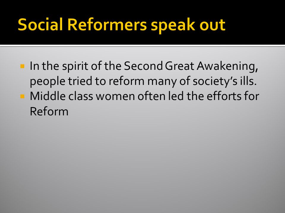 Social Reformers speak out