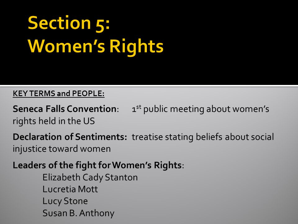Section 5: Women's Rights