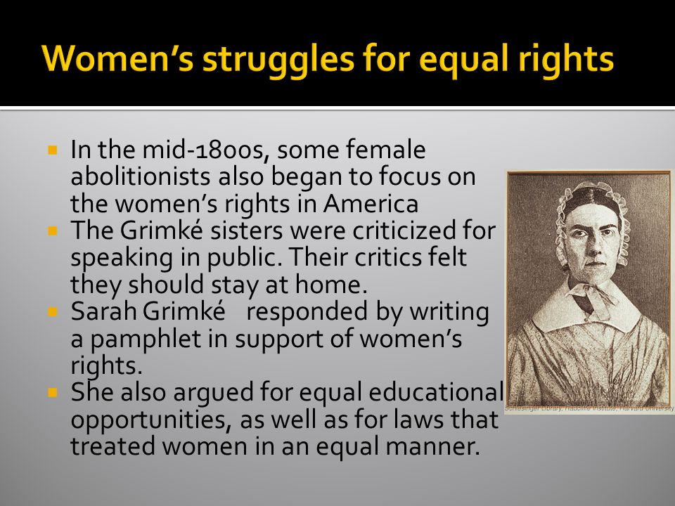 Women's struggles for equal rights