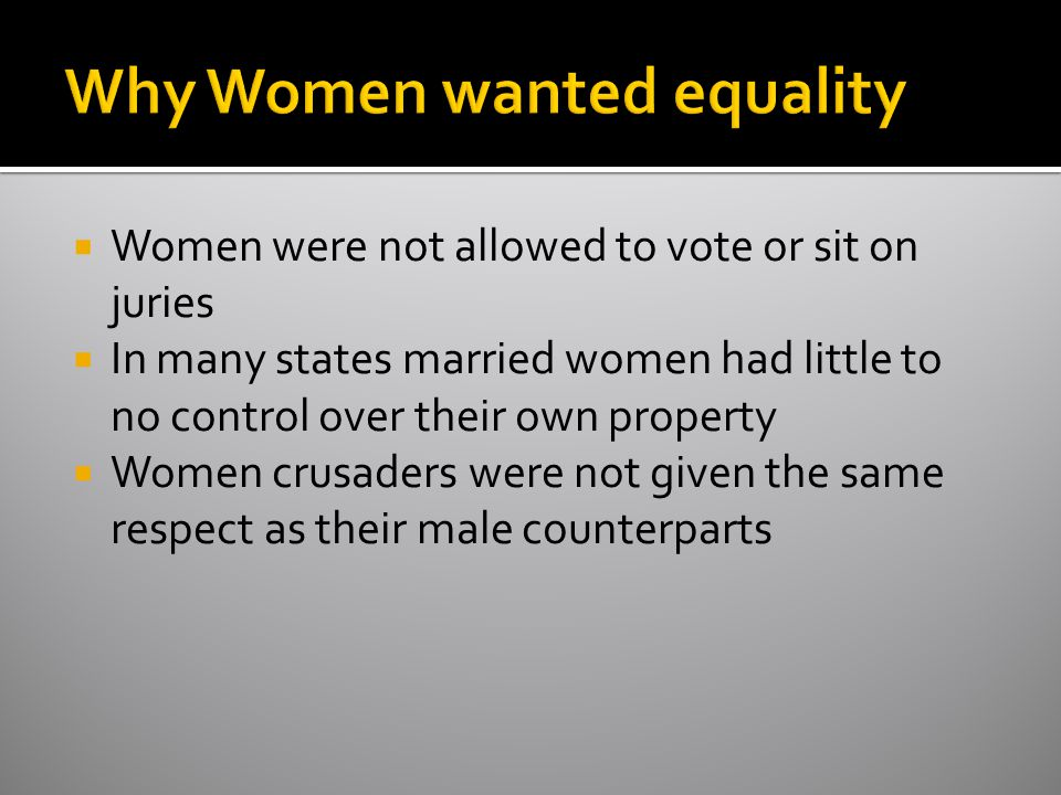 Why Women wanted equality