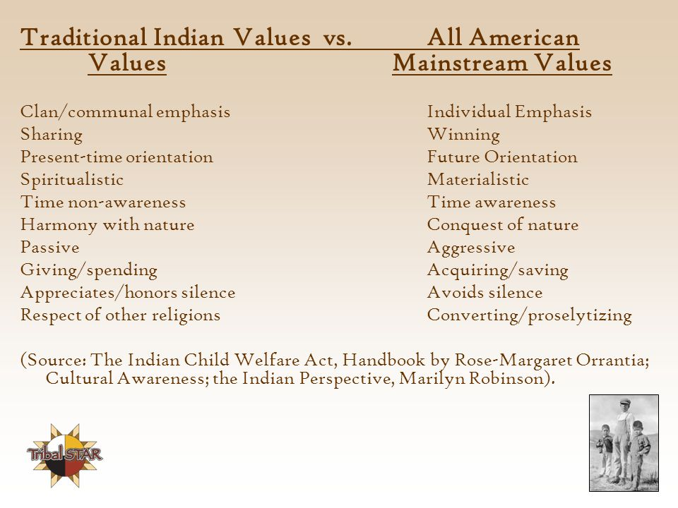 Traditional Indian Values vs. All American Values Mainstream Values