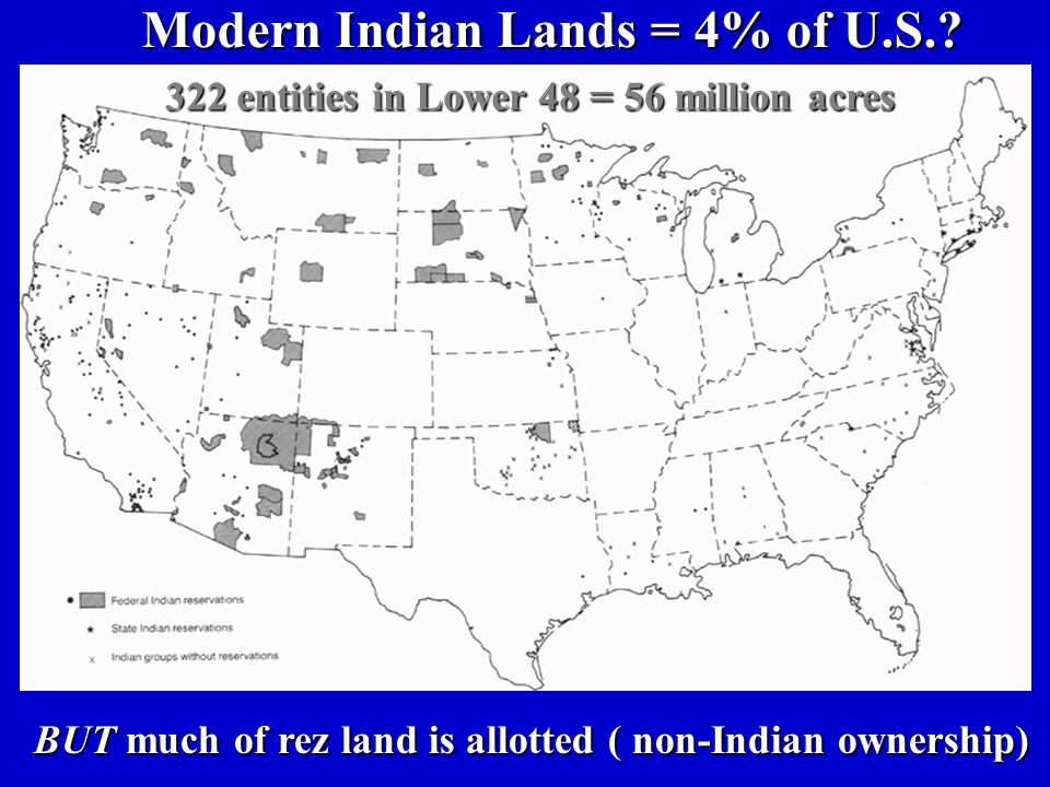 Modern Indian Lands = 4% of U.S.