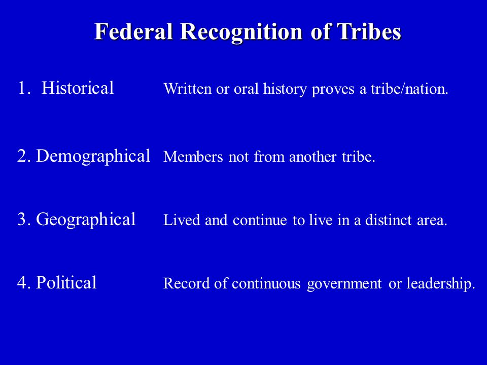 Federal Recognition of Tribes