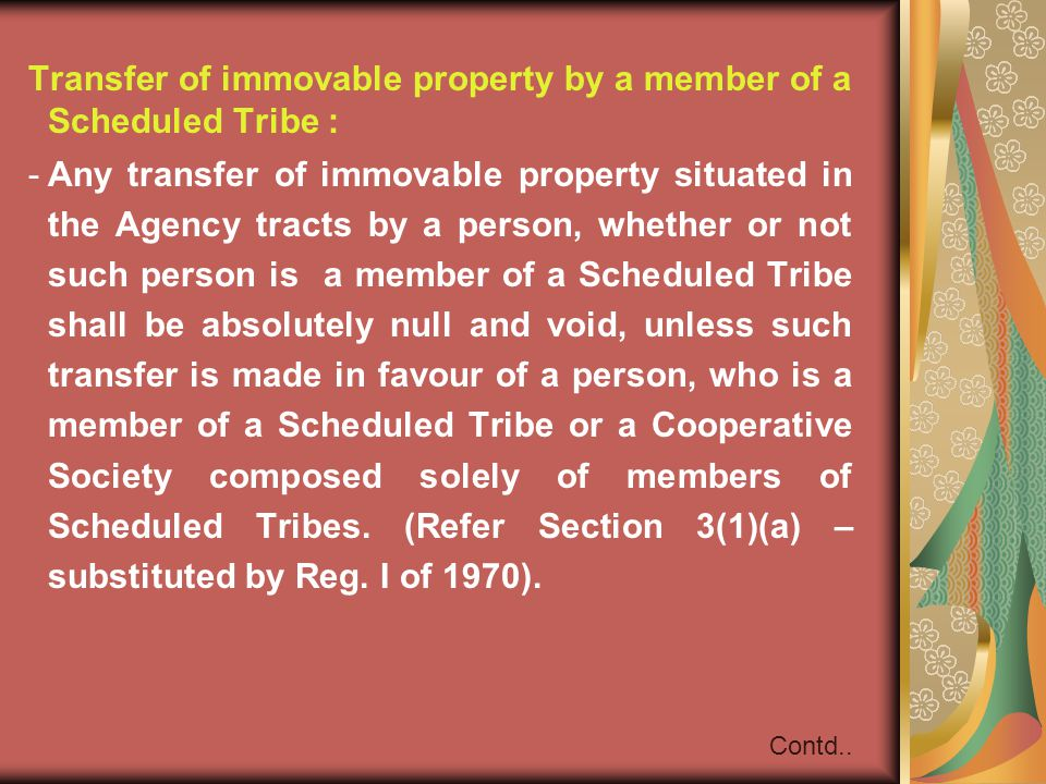 Transfer of immovable property by a member of a Scheduled Tribe :
