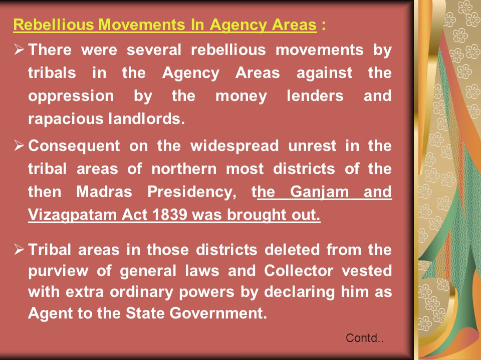 Rebellious Movements In Agency Areas :
