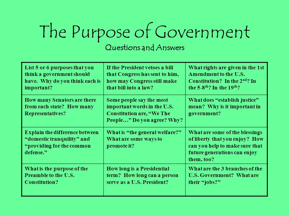 The Purpose of Government Questions and Answers
