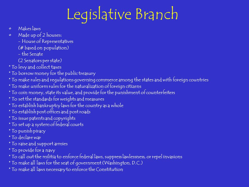 Legislative Branch Makes laws Made up of 2 houses: