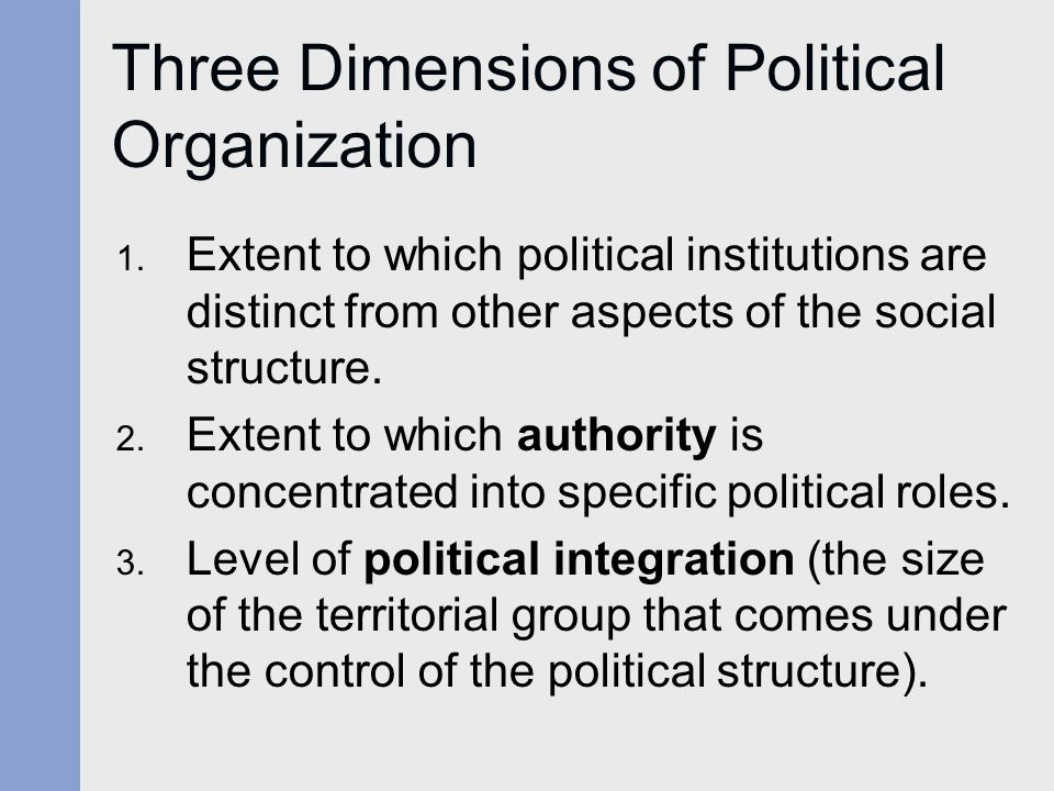 Three Dimensions of Political Organization