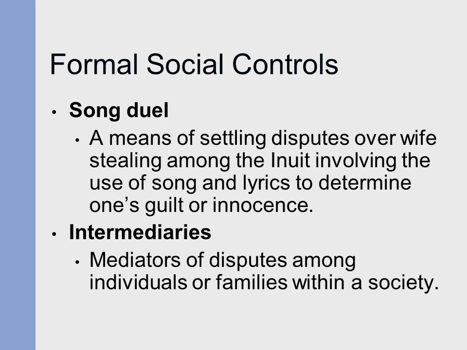 Formal Social Controls