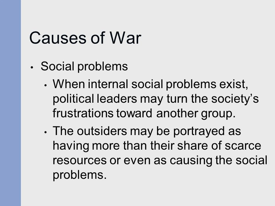 Causes of War Social problems