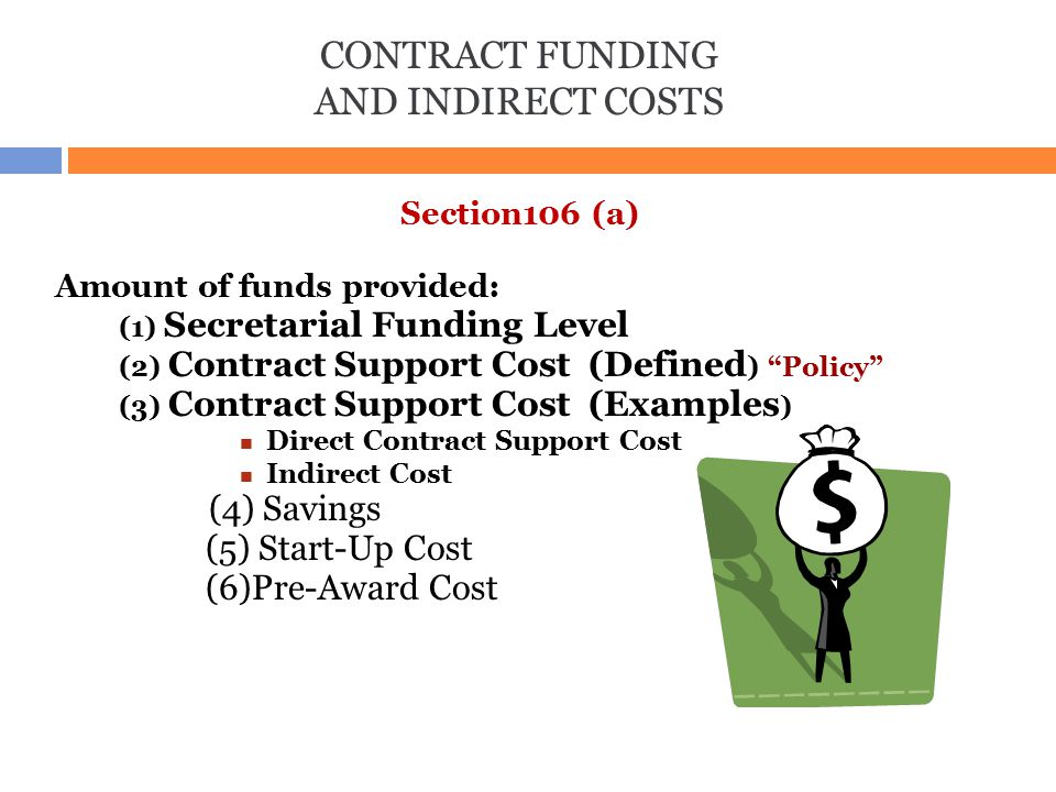 CONTRACT FUNDING AND INDIRECT COSTS (1) Secretarial Funding Level