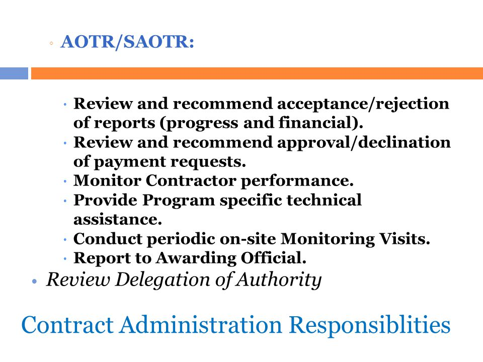 Contract Administration Responsiblities